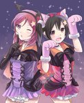2girls animal_ears bangs black_hair bow bowtie capelet collarbone costume dress elbow_gloves finger_to_mouth gloves headband looking_at_viewer love_live! love_live!_school_idol_project medium_hair multiple_girls nishikino_maki open_mouth red_eyes red_hair sgen shushing skirt smile star starry_background thighs yazawa_nico