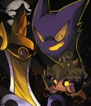 :o :| aegislash closed_mouth cloud commentary evil_smile expressionless fangs floating full_moon gen_1_pokemon gen_6_pokemon ghost halloween haunter highres holding holding_pokemon looking_at_viewer looking_away moon night night_sky no_humans open_mouth outdoors pokemon pokemon_(creature) pumpkaboo purple_eyes rock-bomber signature sitting sky smile yellow_eyes