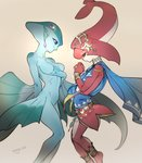 2girls anklet barefoot blue_skin breasts fins fish_girl hair_ornament jewelry long_hair medium_breasts mipha mojaranmo monster_girl multicolored multicolored_skin multiple_girls no_eyebrows pointy_ears princess_ruto purple_eyes red_hair red_skin simple_background smile the_legend_of_zelda the_legend_of_zelda:_breath_of_the_wild the_legend_of_zelda:_ocarina_of_time zora