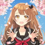 1girl ayami_(annahibi) bangs black_ribbon blush brown_eyes brown_hair cherry_blossoms close-up commentary_request day dot_nose eyebrows_visible_through_hair hair_ribbon long_hair open_hands open_mouth original petals pink_flower red_ribbon ribbon school_uniform sky smile solo spring_(season)