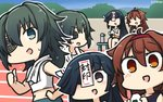 3girls :d alternate_costume black_hair blush bottle brown_eyes brown_hair commentary_request dated day eyebrows_visible_through_hair eyepatch food green_eyes green_hair hair_between_eyes hair_over_one_eye hamu_koutarou hayashimo_(kantai_collection) highres holding holding_food kantai_collection kiso_(kantai_collection) long_hair multiple_girls navel no_hat no_headwear ofuda onigiri open_mouth shiratsuyu_(kantai_collection) short_hair sitting smile sparkle thumbs_up towel towel_around_neck translated