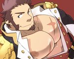 1boy abs bara beard blue_eyes brown_hair chest commentary_request epaulettes facial_hair fate/grand_order fate_(series) long_sleeves looking_at_viewer male_focus military muscle napoleon_bonaparte_(fate/grand_order) nipples pectorals scar simple_background smile solo takezamurai uniform upper_body
