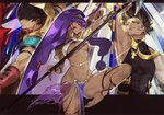 1girl 2boys aiming animal_ears ankle_strap arash_(fate) arm_strap arm_up armpits arror bangs big_hair black_gloves black_hair breasts closed_mouth collarbone commentary_request cross dark_skin earrings egyptian_clothes eyeliner facial_mark fate/grand_order fate_(series) forehead glint gloves grey_eyes hairband holding holding_lance holding_weapon hood hood_up hoop_earrings jewelry lance leg_up loincloth long_hair makeup medium_breasts multiple_boys muscle nail_polish navel nitocris_(fate/grand_order) ozymandias_(fate) polearm profile purple_eyes purple_hair purple_nails pvc_parfait revealing_clothes see-through shoulder_armor sidelocks sleeveless smile standing standing_on_one_leg stomach straight_hair thigh_strap toenail_polish twitter_username two-tone_hairband underboob very_long_hair weapon yellow_eyes