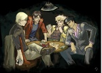 4boys berserk card crossover dio_brando guts headband heart holding holding_card itou_kaiji jacket johan_liebert jojo_no_kimyou_na_bouken kaiji key lamp lying_card male_focus manly md5_mismatch monster_(manga) multiple_boys multiple_crossover playing_card poker poker_chip resized royal_flush shroedinger table upscaled