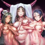 3girls akimoto_janome belly black_hair board_game breasts circlet commentary_request dark_skin fate/grand_order fate_(series) go green_eyes heart heart-shaped_boob_challenge heart_hands highres horns large_breasts long_hair minamoto_no_raikou_(fate/grand_order) multiple_girls nipples_covered_by_hand nude parted_lips plump purple_hair scheherazade_(fate/grand_order) sesshouin_kiara smile take_your_pick zenra