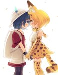2girls amy30535 animal_ears backpack bag blonde_hair blue_eyes blue_hair blush breasts commentary_request extra_ears eye_contact flat_chest forehead-to-forehead happy_tears highres holding_hands kaban_(kemono_friends) kemono_friends looking_at_another medium_breasts multiple_girls open_mouth pantyhose pantyhose_under_shorts profile red_shirt serval_(kemono_friends) serval_ears serval_print serval_tail shirt shorts skirt smile t-shirt tail tears yellow_eyes yuri