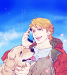 1boy blonde_hair blue_eyes cellphone dog iphone jacket john_(tiger_&_bunny) keith_goodman mamemo_(daifuku_mame) phone red_jacket smartphone tiger_&_bunny