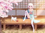 1girl absurdres bare_shoulders blush bow breasts cat cherry_blossoms commentary_request dahe_zhuang_(yishi_fanhua) eyebrows_visible_through_hair full_body hair_ornament highres japanese_clothes kimono looking_at_viewer no_shoes original outdoors pink_bow short_hair sitting small_breasts solo thighhighs white_hair white_legwear yarn yarn_ball