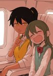 2girls aircraft airplane airplane_interior armrest black_hair blush bow bowtie collared_shirt commentary drooling fang finger_to_mouth green_eyes green_hair highres igarashi_futaba_(shiromanta) index_finger_raised kurobe_natsumi_(shiromanta) long_sleeves looking_at_viewer medium_hair multiple_girls parted_lips ponytail senpai_ga_uzai_kouhai_no_hanashi shiromanta shirt short_hair shushing sitting sleeping slit_pupils smile sweater_vest tan white_shirt yellow_eyes younger