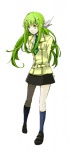 1girl bangs c.c. code_geass green_hair logicon long_hair school_uniform solo yellow_eyes