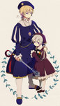 2boys ahoge axis_powers_hetalia bird blonde_hair child eterno full_body hat iceland_(hetalia) mace male_focus multiple_boys norway_(hetalia) puff_and_slash_sleeves puffin puffy_sleeves purple_eyes weapon younger