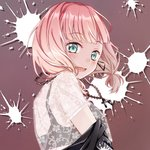 1girl aqua_eyes bang_dream! bangs black_bra black_jacket bra chain_necklace earrings eyebrows_visible_through_hair from_side jacket jewelry looking_at_viewer low_twintails nekojarashi_(r-grey) off_shoulder open_mouth paint_splatter paint_stains pendant pink_hair see-through smile solo splatter_print twintails uehara_himari underwear upper_body