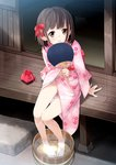 1girl absurdres ass_visible_through_thighs bangs barefoot blush bow brown_eyes brown_hair bucket dripping eyebrows_visible_through_hair fan feet floral_print groin hair_bow head_tilt highres holding japanese_clothes kimono kinchaku legs_together looking_at_viewer mousou_(mousou_temporary) no_panties obi original paper_fan parted_lips pigeon-toed pink_kimono pouch sash sidelocks sitting soaking_feet solo tatami thigh_gap uchiwa veranda water wide_sleeves wooden_bucket wooden_floor yukata