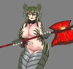1girl :d axe bare_shoulders breasts brown_eyes claws commentary english_commentary fangs green_hair grey_background hair_between_eyes head_fins highres horns lamia large_breasts long_hair looking_at_viewer monster_girl monster_girl_encyclopedia nav navel open_mouth paws scales simple_background smile solo teeth weapon wurm_(monster_girl_encyclopedia)