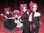 4girls :3 animal_ears arms_behind_back bangs black_bow black_dress blunt_bangs bow braid breasts cat_ears closed_mouth commentary_request crossover dress extra_ears eyebrows_visible_through_hair fangs folded_ponytail from_side frown gloves hair_bow hair_ribbon highres huge_breasts jacket juliet_sleeves kaenbyou_rin kemurikusa kyosuke_fujiwara large_breasts leaning_forward leg_up long_dress long_sleeves looking_at_viewer maid_headdress medium_dress microskirt multiple_girls open_mouth outstretched_arms pantyhose paw_pose puffy_sleeves red_eyes red_gloves red_hair red_ribbon ribbon rin_(kemurikusa) rina_(kemurikusa) ritsu_(kemurikusa) scarf scrunchie short_hair silhouette skirt sleeveless sleeveless_dress smile spread_arms standing standing_on_one_leg touhou twin_braids twintails twitter_username white_jacket white_scarf white_scrunchie
