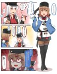 2girls 3koma :d =3 ? black_gloves black_hat black_skirt brown_eyes brown_gloves brown_hair comic commentary empty_eyes fingerless_gloves food food_on_face gangut_(kantai_collection) gloves hair_between_eyes hair_ornament hairclip hamburger hat highres holding holding_food ido_(teketeke) jacket kantai_collection long_hair long_sleeves mcdonald's md5_mismatch multiple_girls open_mouth pantyhose peaked_cap pleated_skirt red_shirt remodel_(kantai_collection) revision scar shaded_face shirt skirt smile speech_bubble spoken_question_mark tashkent_(kantai_collection) translated twintails white_hair white_jacket