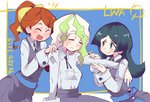 3girls barbara_parker black_hair black_skirt black_vest blue_sash blush breasts brown_hair closed_eyes collared_shirt diana_cavendish eyebrows_visible_through_hair green_hair hands_on_another's_shoulders hanna_england hys-d light_green_hair little_witch_academia long_hair long_sleeves luna_nova_school_uniform massage multicolored_hair multiple_girls open_mouth ponytail school_uniform shirt shirt_tucked_in skirt smile two-tone_hair vest white_shirt witch