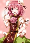 1girl ;d bandaged_arm bandages blush double_bun eyebrows_visible_through_hair flower hand_on_hip highres ibaraki_kasen looking_at_viewer one_eye_closed open_mouth pink_background pink_eyes pink_hair rose ruu_(tksymkw) short_hair short_sleeves smile solo touhou