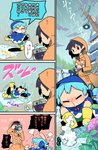 2girls alternate_costume angry arms_up black_hair blue_hair boots camera cirno comic flower green_shorts grin highres holding holding_camera hydrangea ice leg_up lying moyazou_(kitaguni_moyashi_seizoujo) multiple_girls on_back outdoors poncho rain raincoat rubber_boots shameimaru_aya short_hair shorts slipping smile taking_picture touhou translation_request