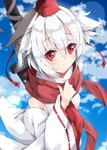 1girl animal_ears bare_shoulders blue_sky blurry blurry_background blush closed_mouth cloud cloudy_sky commentary_request day depth_of_field detached_sleeves hat inubashiri_momiji long_sleeves looking_at_viewer milkpanda outdoors red_eyes red_hat red_scarf ribbon-trimmed_sleeves ribbon_trim scarf shirt short_hair sidelocks silver_hair sky sleeveless sleeveless_shirt smile solo sword tokin_hat touhou turtleneck weapon weapon_on_back white_shirt wide_sleeves wolf_ears