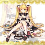 1girl absurdly_long_hair andrea_doria_(zhan_jian_shao_nyu) animal_ears apron bangs bell bendy_straw black_bow black_footwear black_panties black_skirt blonde_hair blue_eyes bow breasts cake candy cannon cat_ears cat_girl cat_tail closed_mouth cookie cup drink drinking_glass drinking_straw eyebrows_visible_through_hair food frilled_apron frills hair_between_eyes highres jianren jingle_bell kneehighs lollipop long_hair looking_at_viewer maid maid_headdress muffin panties puffy_short_sleeves puffy_sleeves red_bow ribbed_legwear ringlets shirt shoes short_sleeves sidelocks sitting skirt small_breasts solo spill swirl_lollipop tail tail_bell tail_bow thick_eyebrows tiered_tray torn_clothes torn_kneehighs torn_shirt turret twintails underwear v-shaped_eyebrows very_long_hair waist_apron white_apron white_legwear white_shirt wrist_cuffs zhan_jian_shao_nyu zoom_layer