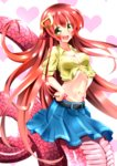 1girl absurdres blush breasts cleavage commentary_request fang hair_ornament hairclip highres lamia long_hair miia_(monster_musume) monster_girl monster_musume_no_iru_nichijou navel pointy_ears red_hair scales shirt skirt slit_pupils tied_shirt yellow_eyes