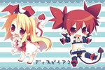 2girls :d bat_wings blonde_hair blush_stickers chibi demon_tail disgaea etna flonne flonne_(fallen_angel) hair_ribbon long_hair multiple_girls navel open_mouth outstretched_arms pointy_ears red_eyes red_hair ribbon sazaki_ichiri smile spread_arms tail tail_bow twintails wings