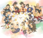 alcohol armband armor ayo_(isy8800) bald bardock beer beer_mug black_eyes black_hair boots broly brown_hair clenched_hand closed_eyes dated dougi dragon_ball dragon_ball_z eating facial_hair food food_in_mouth gine gloves head_rest indian_style jewelry knee_pads kneeling leotard long_hair looking_back lying meat monkey_tail mouth_hold muscle mustache nappa neck_ring on_stomach open_mouth panbukin_(dragon_ball) raditz scar_on_cheek seripa short_hair sitting smile son_gokuu spiked_hair toast_(gesture) toma_(dragon_ball) toteppo tullece vegeta very_long_hair white_boots white_gloves widow's_peak wrist_cuffs wristband