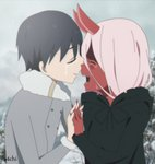1boy 1girl bangs black_cloak black_hair blue_eyes cloak closed_eyes coat commentary couple crying darling_in_the_franxx fur_trim green_eyes grey_coat hetero highres hiro_(darling_in_the_franxx) holding_hand hood hooded_cloak horns interlocked_fingers long_hair oni_horns parka pink_hair red_horns red_skin s4chi short_hair signature spoilers tears winter_clothes winter_coat younger zero_two_(darling_in_the_franxx)