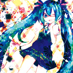 1girl aqua_eyes aqua_hair bad_id bad_pixiv_id bespectacled glasses hatsune_miku long_hair lowres necktie one_eye_closed open_mouth sazanami_shione skirt solo sweater_vest twintails v very_long_hair vocaloid