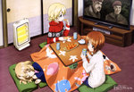 3girls a_bridge_too_far absurdres blonde_hair blue_eyes brown_eyes brown_hair character_request closed_eyes copyright_request cup darjeeling food fruit girls_und_panzer heater highres itou_takeshi katyusha kotatsu mandarin_orange megami multiple_girls nishizumi_miho official_art pillow short_hair sleeping sweater table television under_kotatsu under_table