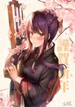 1girl arm_up bangs black_kimono blush bow braid breasts bullpup commentary_request eyebrows_visible_through_hair floral_print flower girls_frontline gun hair_bow holding holding_gun holding_weapon japanese_clothes kimono long_hair long_sleeves looking_at_viewer medium_breasts object_namesake pink_flower print_kimono purple_hair qian_wu_atai red_bow red_eyes rifle sidelocks signature sniper_rifle solo tree_branch wa2000_(girls_frontline) walther walther_wa_2000 weapon wide_sleeves
