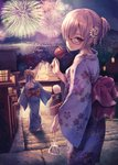 2girls aerial_fireworks ahoge architecture bag bagged_fish blonde_hair blue_eyes blue_kimono bow braided_bun candy_apple commentary_request cotton_candy east_asian_architecture fate/grand_order fate_(series) fireworks fish floral_print flower food glasses hair_flower hair_ornament japanese_clothes kimono lantern looking_back mash_kyrielight multiple_girls night night_sky obi ouka_(ra-raradan) outdoors paper_lantern red_bow sash sky stairs standing torii