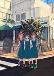 3girls blue_dress blue_hair bracelet brown_hair building collared_shirt commentary_request day dress highres jewelry long_hair multiple_girls orange_hair original outdoors pinafore_dress road shirt shoes short_hair side-by-side sign sketch sneakers standing street sumi_(pixiv619693) tree