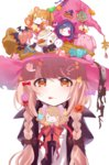 1girl :q >_o bat beamed_quavers black_bow bow braid brown_bow brown_eyes brown_hair brown_ribbon candy_hair_ornament character_doll closed_mouth fang_out food_themed_hair_ornament futaba_anzu hair_bow hair_ornament halloween hand_up hat hat_bow hat_ribbon hayasaka_mirei highres holding_lollipop idolmaster idolmaster_cinderella_girls jack-o'-lantern jack-o'-lantern_hair_ornament jougasaki_mika jougasaki_rika long_hair moroboshi_kirari musical_note one_eye_closed ribbon shirasaka_koume sinsihukunokonaka solo striped striped_bow stuffed_animal stuffed_bunny stuffed_toy tareme tongue tongue_out twin_braids witch_hat
