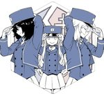 3girls adjusting_clothes adjusting_hat andou_(girls_und_panzer) bc_freedom_(emblem) bc_freedom_military_uniform blue_hat blue_jacket blue_vest closed_eyes commentary dress_shirt drill_hair emblem from_side girls_und_panzer hat hexagon high_collar jacket long_hair long_sleeves marie_(girls_und_panzer) medium_hair messy_hair military military_hat military_uniform miniskirt multiple_girls oshida_(girls_und_panzer) partially_colored pleated_skirt shako_cap shirt six_song skirt uniform vest white_shirt white_skirt