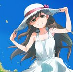 1girl ajino_(sakanahen) alternate_costume arashio_(kantai_collection) artist_name bare_arms bare_shoulders blue_sky bow brown_eyes brown_hair day dress grin hands_on_headwear hat hat_bow kantai_collection long_hair looking_at_viewer outdoors sky sleeveless sleeveless_dress smile solo straw_hat sun_hat sundress teeth upper_body white_dress