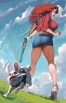 1girl absurdres ass breasts bunny cloud cloudy_sky cutesexyrobutts eyeshadow facepaint field grass green_eyes gun highres knife_in_mouth large_breasts legs lips long_hair long_legs looking_at_viewer looking_back looking_down makeup original paid_reward patreon_reward pencil_skirt red_hair shell_in_mouth shotgun shotgun_shells skirt sky solo thighs weapon