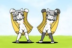 2girls animal_ears black_legwear bow bowtie breasts cat_ears cat_paws coat convenient_censoring exhibitionism moneko_(nyanko_daisensou) multiple_girls neneko_(nyanko_daisensou) nude nyanko_daisensou paws shoes socks star yagen_sasami