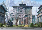 2017 artist_name building bush cherry_blossoms city commentary directional_arrow flat_color house k_kanehira no_humans original plant road scenery science_fiction sign street tree vines