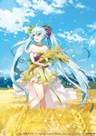 1girl aqua_eyes aqua_hair cloud copyright_name day dress hatsune_miku highres long_hair looking_to_the_side mountain open_mouth sky smile snowflakes solo standing strapless strapless_dress twintails very_long_hair vocaloid wheat wheat_field yuzuki_kihiro
