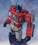 80s autobot glowing glowing_eye ground_vehicle hector_trunnec highres insignia machine machinery mecha motor_vehicle no_humans oldschool optimus_prime robot science_fiction signature silver_hair traditional_media transformers truck watercolor_(medium)