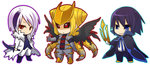 3boys :< absol alternate_form black_sclera blonde_hair blue_eyes blue_hair bodysuit boots chibi coat commentary_request empoleon fur_trim giratina headwear_removed hitec male multicolored_hair multiple_boys outline personification pokemon red_eyes ribbon simple_background smile standing two-tone_hair weapon white_background white_hair wings