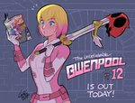 1girl :o aqua_eyes artist_name blonde_hair bound breasts english fire gurihiru gwen_poole gwenpool leotard manga_(object) marvel mask mask_removed multicolored_hair open_mouth pink_hair pouch reading rope signature small_breasts solo superhero sword tiara tied_up two-tone_hair upper_body weapon