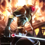 1boy antennae bad_id bad_pixiv_id energy_sword explosion glowing glowing_eyes hajime_(hajime-ill-1st) kamen_rider kamen_rider_black_rx kamen_rider_black_rx_(series) male_focus revolcane solo sword weapon