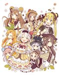 6+girls :d :o ;q absurdres ahoge animal_ears apron bangs bear_ears bear_hat black_eyes blonde_hair blue_eyes blunt_bangs blush bow brown_eyes brown_gloves brown_hair cake dress eating flower food food_themed_clothes food_themed_hair_ornament frilled_gloves frills fruit fur-trimmed_gloves fur_trim gloves green_eyes hair_bow hair_ornament hair_ribbon hairband hairpin hand_on_own_chest hand_to_own_mouth hands_on_another's_head hat heterochromia highres holding holding_tray jitome leaf_hair_ornament long_hair looking_at_viewer looking_back macaron maid multiple_girls one_eye_closed open_mouth original pink_hair pudding ribbon sakura_oriko silver_hair sleeves_past_wrists smile strawberry strawberry_hair_ornament tongue tongue_out top_hat tray twintails white_gloves wide_sleeves x_hair_ornament yellow_bow yellow_eyes