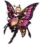 1girl :d antennae blonde_hair boots breasts butterfly_wings drinking_straw flower full_body hairband high_heel_boots high_heels highres insect_girl kenkou_cross large_breasts monster_girl monster_girl_encyclopedia open_mouth outstretched_arms papillon_(monster_girl_encyclopedia) red_eyes short_hair simple_background smile solo spread_arms thigh_boots thighhighs white_background wings