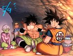 1girl 3boys :d ;) ^_^ abs apron backlighting bah_(dragon_ball) black_eyes black_hair blurry bokeh boots bowl broly_(dragon_ball_super) cave cheelai chest_scar chopsticks closed_eyes clothes_writing coat depth_of_field dougi dragon_ball dragon_ball_super eating eyelashes eyewear_on_head eyewear_removed facial_scar fingernails full_body goggles goggles_on_head green_skin happy hat holding holding_bowl holding_chopsticks holding_pot holding_spoon indian_style indoors lemo_(dragon_ball) looking_at_another looking_back looking_down mattari_illust multiple_boys nervous number objectification one_eye_closed open_mouth orange_skin pot puffy_cheeks purple_coat purple_eyes purple_legwear scar scar_on_cheek shirtless short_hair sitting smile son_gokuu spiked_hair spoon sweatdrop v very_short_hair waist_cape white_hair wristband yellow_headwear