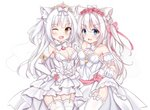 2girls ;d absurdres animal_ear_fluff animal_ears azur_lane bangs blue_eyes bow breasts brown_eyes cat_ears choker cleavage detached_collar detached_sleeves dress elbow_gloves eyebrows_visible_through_hair fang flower garter_straps gloves hair_between_eyes hair_bow hair_flower hair_ornament hammann_(azur_lane) hand_up heart highres holding_hands huge_filesize interlocked_fingers kurashina_yuzuki long_hair looking_at_viewer medium_breasts multiple_girls one_eye_closed one_side_up open_mouth pink_bow pink_flower pink_rose puffy_short_sleeves puffy_sleeves railing red_ribbon ribbon rose see-through short_sleeves silver_hair simple_background skirt_hold small_breasts smile standing strapless strapless_dress thighhighs tiara veil very_long_hair white_background white_choker white_dress white_gloves white_legwear yellow_ribbon yukikaze_(azur_lane)