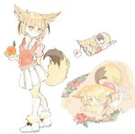 1girl animal_ears blonde_hair bow bowtie commentary_request elbow_gloves fennec_(kemono_friends) flower food fox_ears fox_tail fruit full_body fur_collar fur_trim gloves kemono_friends konabetate lying musical_note on_stomach orange pleated_skirt puffy_short_sleeves puffy_sleeves short_hair short_sleeves skirt solo standing tail thighhighs